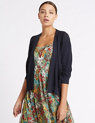 Textured Stitch Frill 3/4 Sleeve Cardigan, NAVY, catlanding