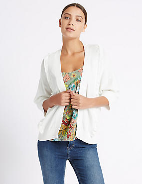 Textured Stitch Frill 3/4 Sleeve Cardigan, SOFT WHITE, catlanding