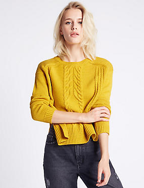 Cable Knit Side Split Round Neck Jumper, OCHRE, catlanding