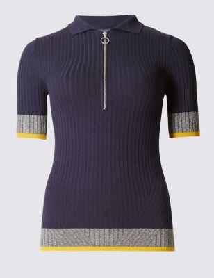 Джемпер в рубчик с воротником и цветной полоской на рукавах от Marks & Spencer