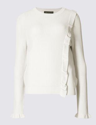 Вязаный джемпер с рюшем по диагонали M&S Collection T387092