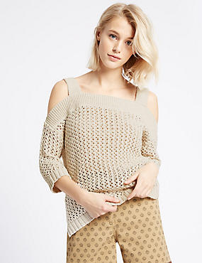 Open Knit Cold Shoulder 3/4 Sleeve Jumper, STONE, catlanding