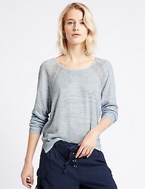 Pointelle Knit Tie Back Round Neck Jumper, BLUE MIX, catlanding