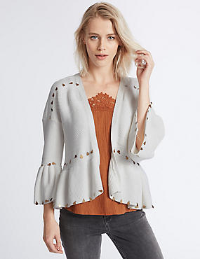 Pure Cotton Textured Boho Flared Cardigan, , catlanding