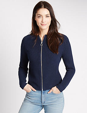 Pure Cotton Ribbed Cardigan, NAVY, catlanding
