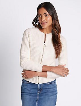 Pure Cotton Ribbed Cardigan, CREAM, catlanding