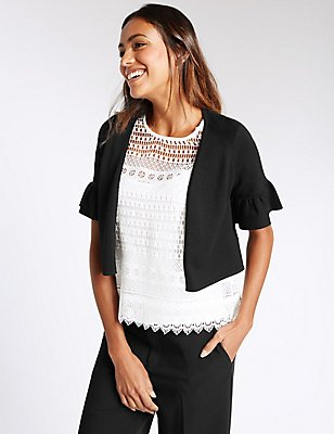 Frill Short Sleeve Cardigan, BLACK, catlanding