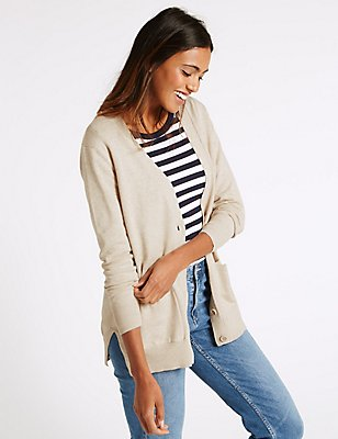 Pure Cotton V-Neck 2 Pocket Cardigan, OATMEAL, catlanding