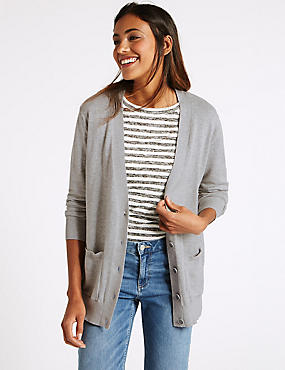 Pure Cotton V-Neck 2 Pocket Cardigan, SILVER GREY, catlanding
