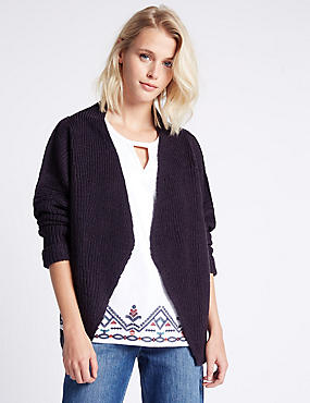 Multi Stitch Textured Cardigan, FRENCH NAVY, catlanding