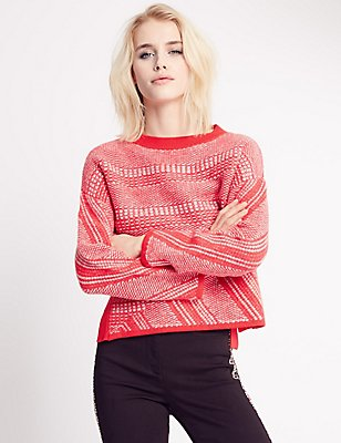Textured Chilli Stitch Jumper, CHILLI, catlanding
