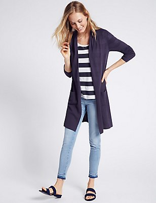 Open Front 2 Pockets Cardigan, NAVY, catlanding