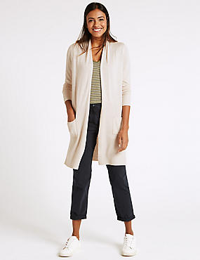 Open Front 2 Pocket Cardigan, OATMEAL, catlanding