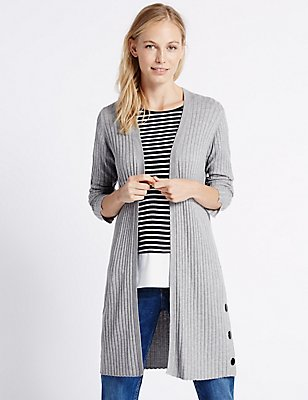 Open Front Ribbed Cardigan, SILVER GREY, catlanding