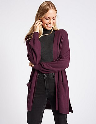 Balloon Sleeve Longline Cardigan, DEEP PURPLE, catlanding