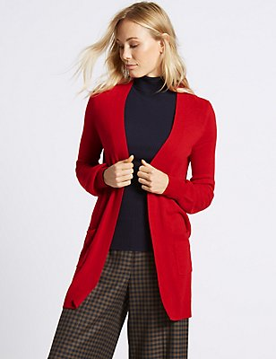 Balloon Sleeve Longline Cardigan, LACQUER RED, catlanding