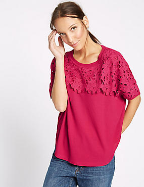 Lace Round Neck Short Sleeve Jumper, PINK, catlanding