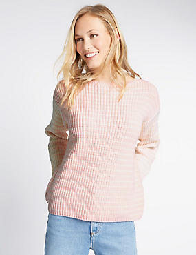 Pure Cotton Cable Knit Dipped Hem Jumper, PINK MIX, catlanding