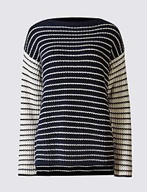 Pure Cotton Striped Slash Neck Jumper