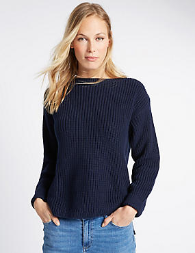 Pure Cotton Fisherman Rib Slash Neck Jumper, NAVY, catlanding