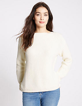 Pure Cotton Fisherman Rib Slash Neck Jumper, CREAM, catlanding