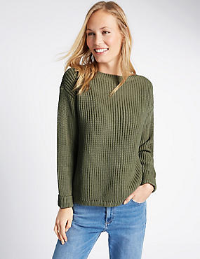 Pure Cotton Fisherman Rib Slash Neck Jumper, SOFT KHAKI, catlanding