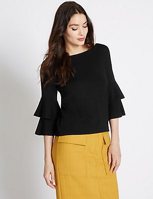 Slash Neck Tiered Sleeve Jumper, BLACK, catlanding