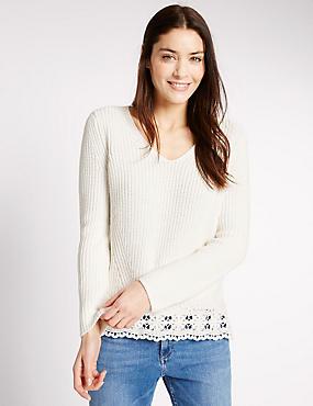 Pure Cotton Pretty Lace Hem V-Neck Jumper, CREAM, catlanding