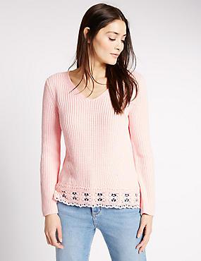 Pure Cotton Pretty Lace Hem V-Neck Jumper, SHERBERT, catlanding