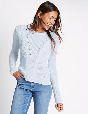 Cotton Blend Cable Knit Crew Neck Jumper, FRESH BLUE, catlanding