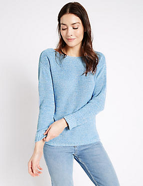 Pure Cotton Ribbed Slash Neck Jumper, BLUE MIX, catlanding