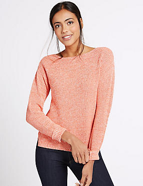 Pure Cotton Ribbed Turn Up Jumper, ORANGE MIX, catlanding