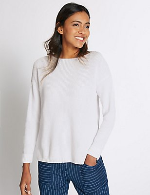 Pure Cotton Ribbed Turn Up Jumper, SOFT WHITE, catlanding