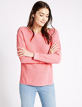 Pure Cotton Ribbed Turn Up Jumper, FONDANT, catlanding