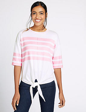 Pure Cotton Striped Tie Front Jumper, PINK MIX, catlanding