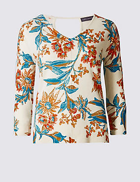 Floral Print V-Neck 3/4 Sleeve Jumper, BLUE MIX, catlanding