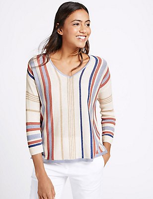 Striped Window Back V-Neck Jumper, OATMEAL MIX, catlanding
