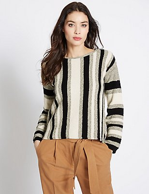 Striped Slash Neck Jumper, OATMEAL MIX, catlanding