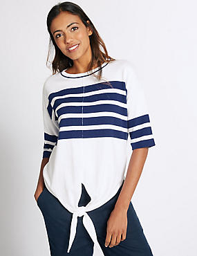 Pure Cotton Striped Tie Front Jumper, NAVY MIX, catlanding