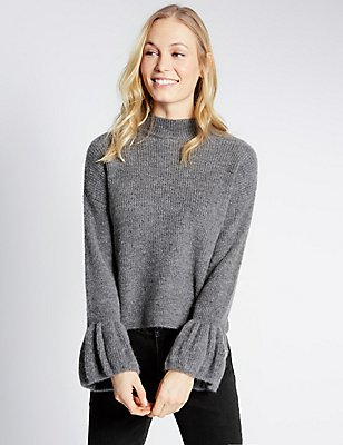Funnel Neck Flute Sleeve Cropped Jumper, GREY MIX, catlanding