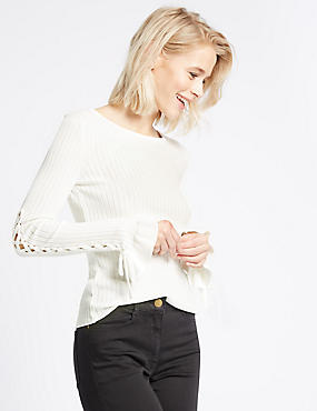 Lace-up Sleeve Ribbed Round Neck Jumper, IVORY, catlanding
