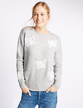 Lace Applique Textured Jumper, GREY MIX, catlanding