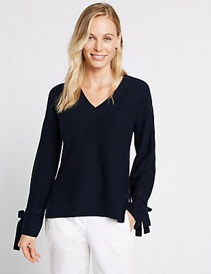 Cotton Blend V-Neck Tie Cuff Detail Jumper, NAVY, catlanding