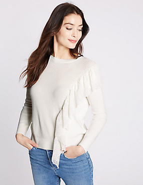 Pure Cotton Ruffle Jumper, SOFT WHITE, catlanding