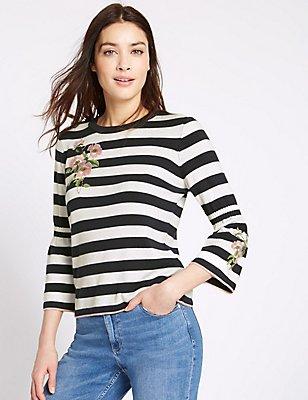 Cotton Blend Striped Embroidered Jumper, NAVY MIX, catlanding
