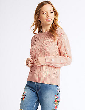 PETITE Cotton Blend Textured Jumper , BLUSH, catlanding