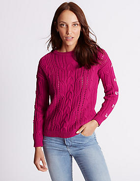 Cotton Blend Cable Knit Button Sleeve Jumper, FUCHSIA, catlanding