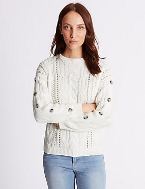 Cotton Blend Cable Knit Button Sleeve Jumper, CREAM, catlanding