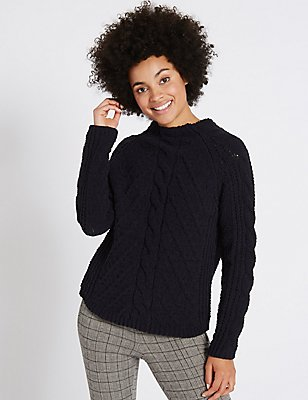 Chenille Cable Funnel Neck Jumper, NAVY, catlanding