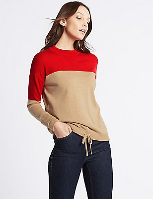 Pure Wool Colour Block Jumper, RED MIX, catlanding